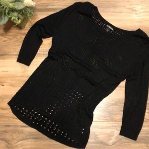 Express Rayon Sweater Black Tiny Holes